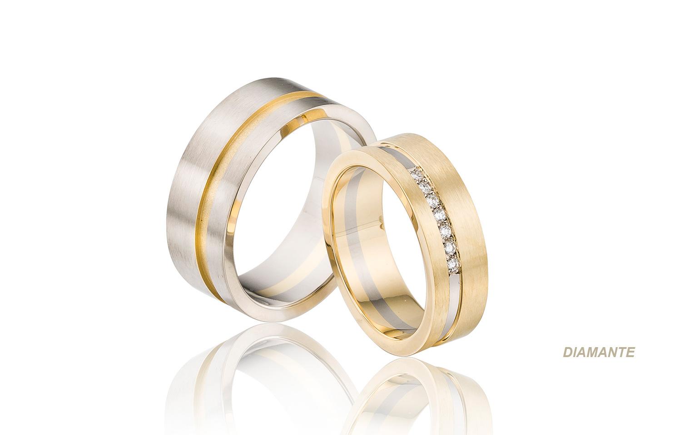 Bicolor trouwringen met diamanten, handgemaakt van witgoud en goud