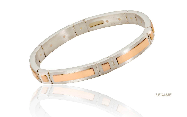 Armband van mat roodgoud en mat zilver