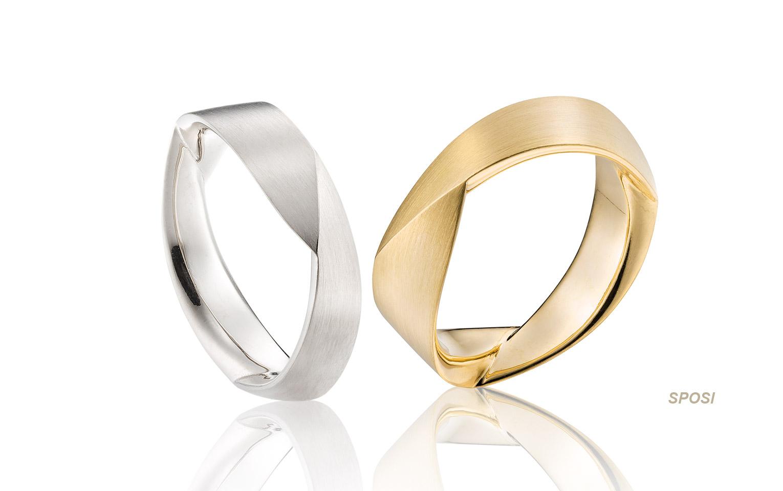 Bijzondere huwelijksringen in 14 karaat geel en witgoud