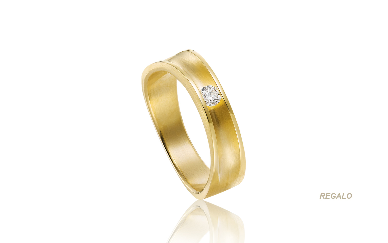 Chique diamanten verlovingsring van 14 karaat mat geelgoud