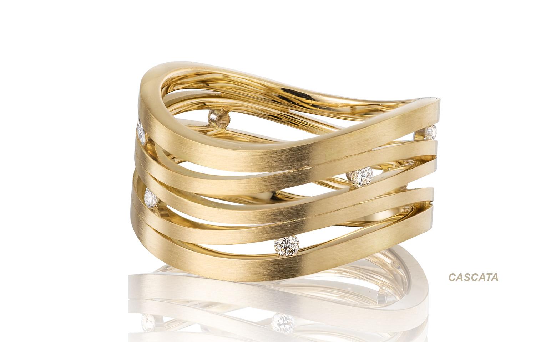 Exclusieve geelgouden ring met 8 briljanten vvs/tw