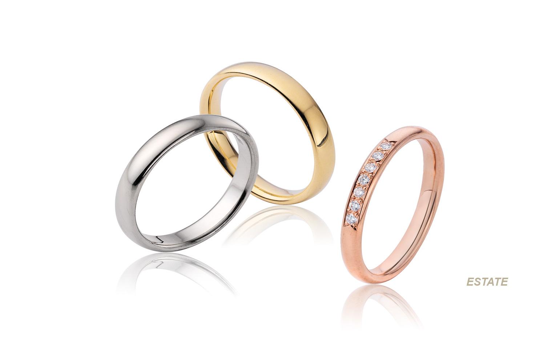 Gladde trouwringen klassiek trouwringen met 7 briljanten van goud wit, geel en rose.