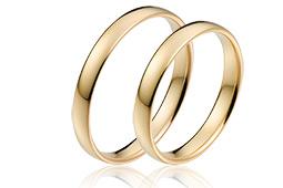 Goedkope trouwringen gladde uitvoering in goud