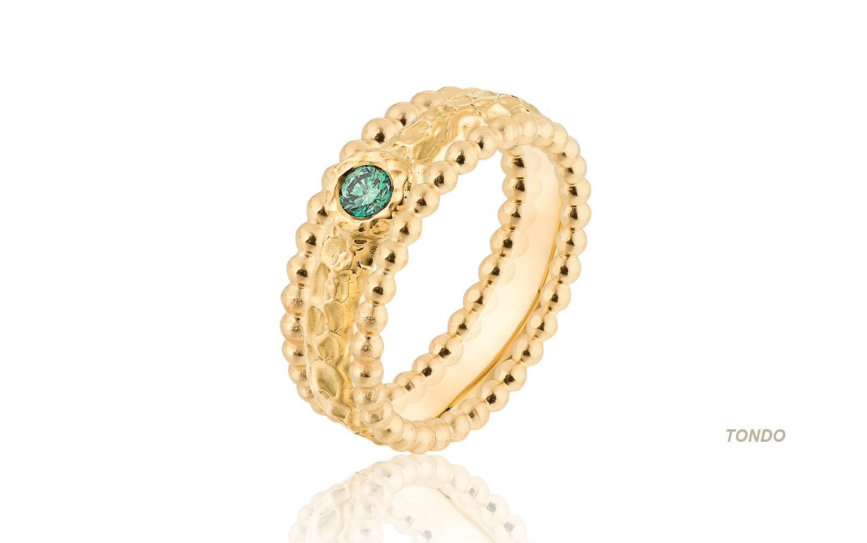 Geelgouden 14 krt organische ring met groene briljant