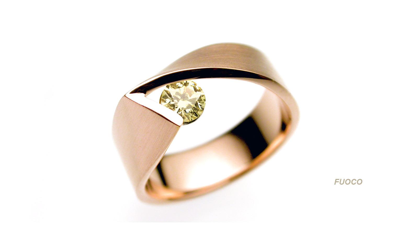 ring met diamant van roodgoud