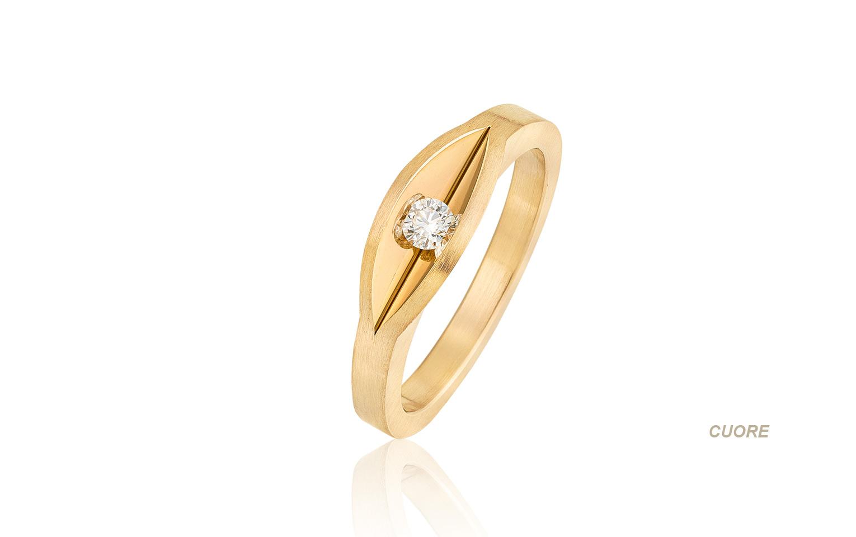 Speciale verlovingsring met briljant in 14 krt goud