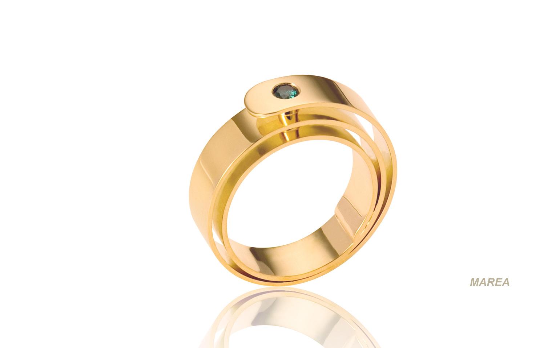 Unieke gouden ring met een groene moissaniet van 0,15 crt