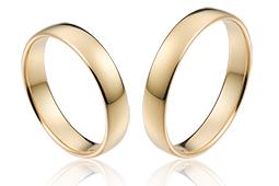 klassieke gladde trouwringen 4,0 mm breed van 14 krt goud