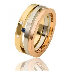 aparte ring met briljanten in 3 kleuren geelgoud witgoud en roodgoud