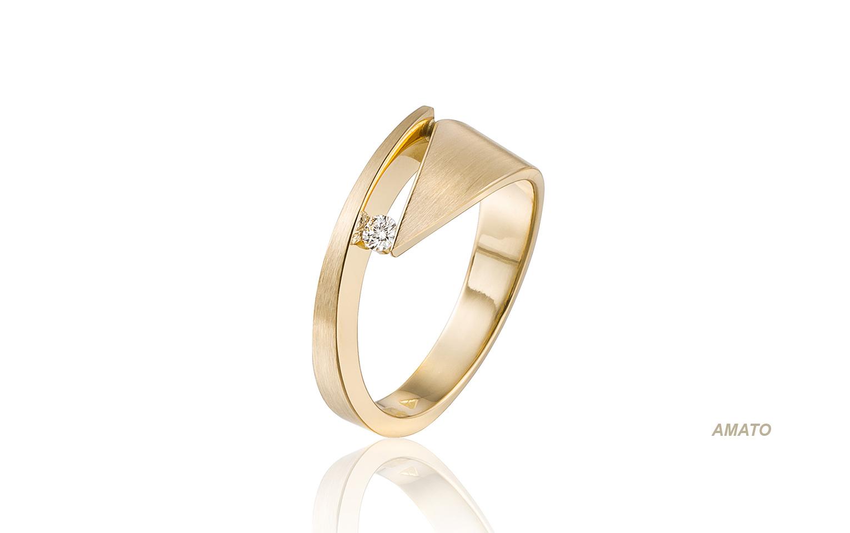14 krt gouden bijzondere trouwringen met diamant 0,05 carat uit Antwerpen België