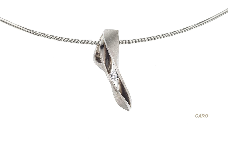 bijzondere 14 krt witgouden hanger met briljant 0.05 crt