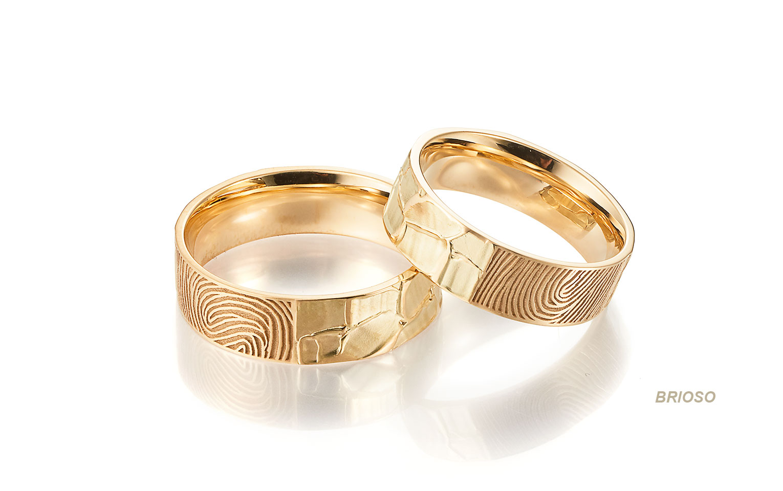 trouwringen met vingerafdruk in goud