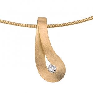 gouden hanger met briljant in unieke vorm